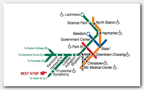 MBTA Green Line map showing Symphony stop.