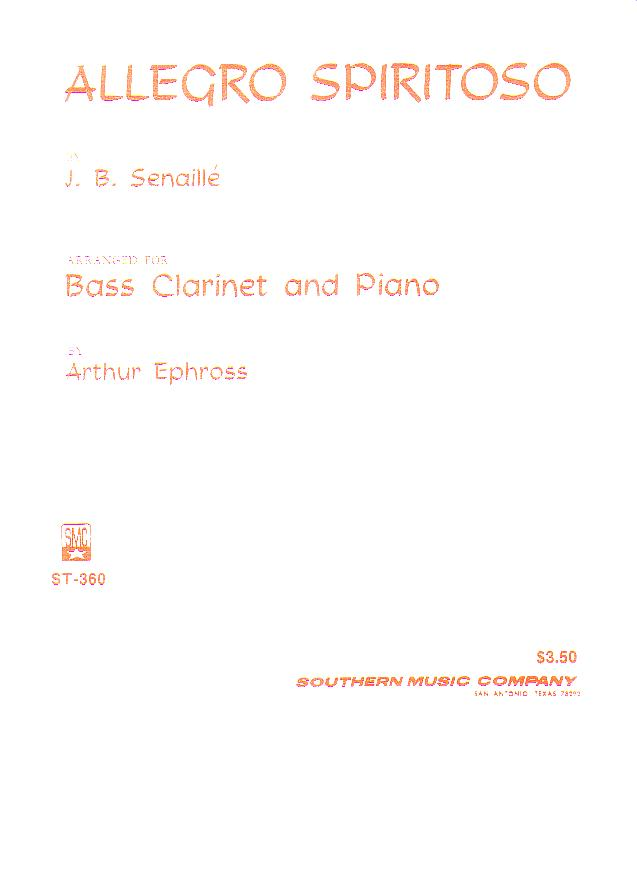 J.B. Senaille Allegro Spiritoso For Bass Clarinet